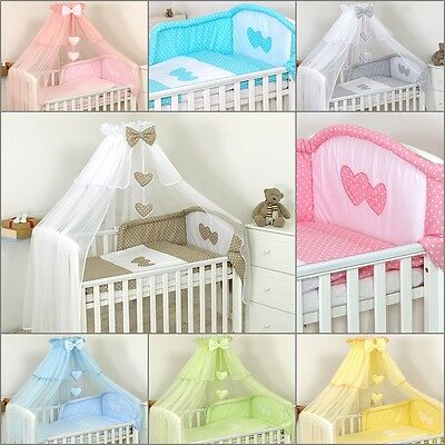 Luxury Baby Cot /Bed Cotton Sateen Bedding Set, Canopy Drape,Holder,Duvet,Bumper