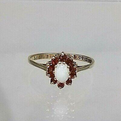 9ct Gold Vintage Cluster Ring Genuine Australian Opal & Garnet  size P