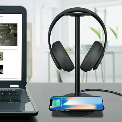 Headphone Stand with USB Charging Station and Wireless Charging Pad Hanger BT