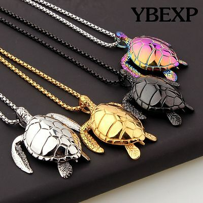 Men's New Sea Turtle Pendant  Stainless Steel  Necklace Chain Colorful - Turtle Necklaces