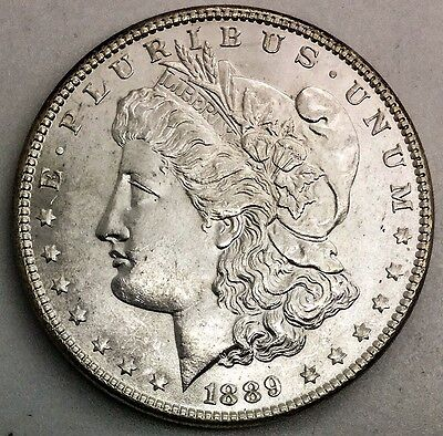 1889 MORGAN SILVER DOLLAR  NICE LUSTROUS FLASHY COIN