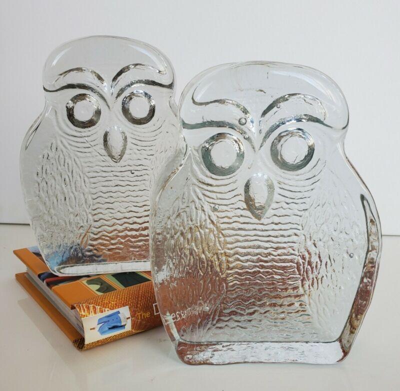 Blenko Clear Glass 7 inch Owl Bookends Joel Myers Heavy Vintage 10 LB MCM
