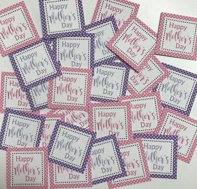 25 Small Square 3cm Sentiments/Banners HAPPY MOTHERS DAY Hand Made Card Toppers