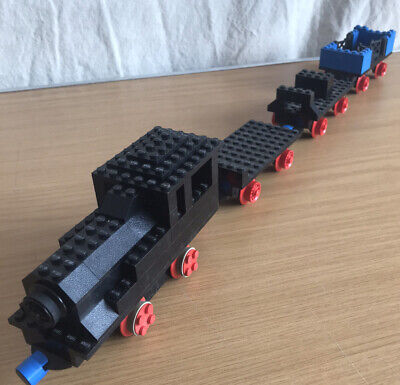 Vintage Lego Black Train And Trailer Set 1970's