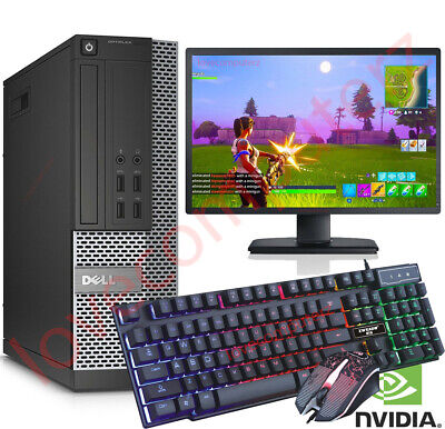 FAST GAMING DELL BUNDLE TOWER PC FULL SET COMPUTER SYSTEM INTEL i5 8GB 500 GT710