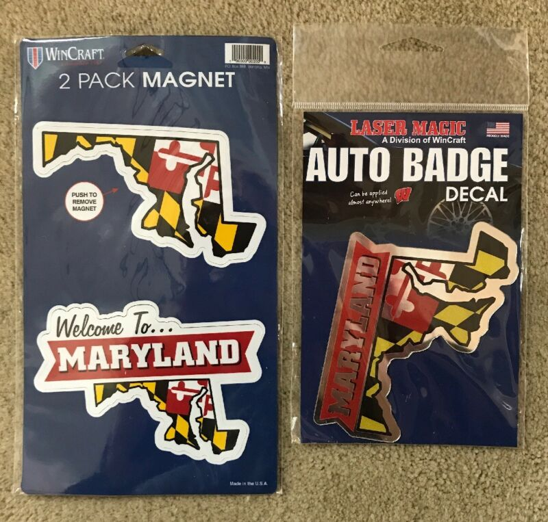 Maryland Auto Sticker Decal W/ 2 Magnets Combo Set