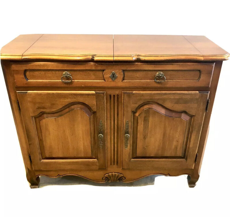 Ethan Allen Country French Flip Top Server Liquor Cabinet bar Sideboard