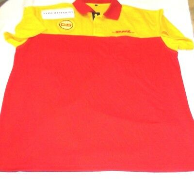 Authentic Dhl Polo Shirt Employee Red Yellow Uniform Size Xl Adult Offical