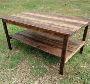 Pallet Furniture Coffee Table Throughout Coffee Table Handmade Reclaimed Pallet Wood Upcycled Vintage Rustic Look Furniture Ebay