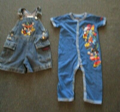 2 WALT DISNEY WORLD TODDLER OUTFITS:OVERALLS SIZE 2T AND FRONT BUTTON SIZE 18M ()