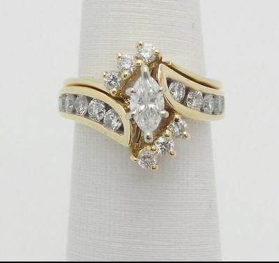 2CT Marquise Cut Diamond Wedding Engagement Bridal Ring Set 14K Yellow Gold Over