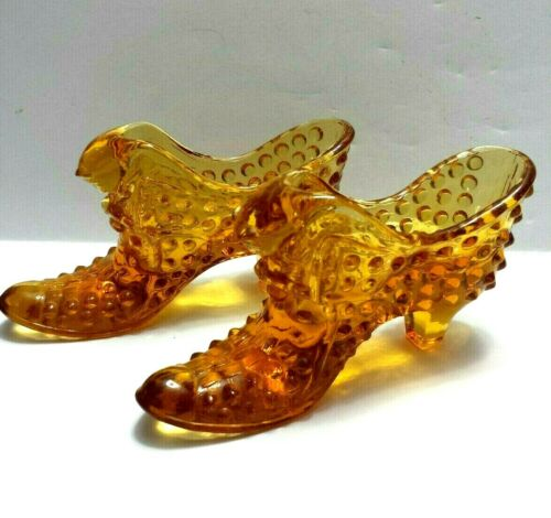 "Vintage Pair 2 Fenton Hobnail Amber Glass Shoe Cat Head Slipper 6.5"" X 3"""