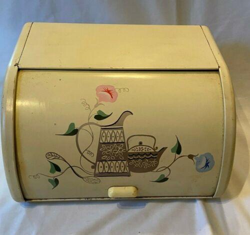 Vintage Ransburg Enameled Yellow Metal Bread Box Roll Top w Flowers & Tea Pot