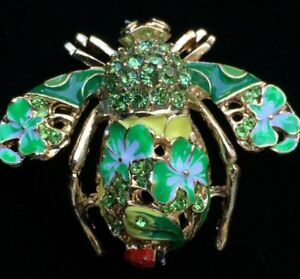 JOAN RIVERS GREEN GOLD FLOWER LADYBUG BUMBLE BEE INSECT BUG PIN BROOCH JEWELRY