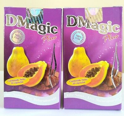 2 PACK DMAGIC PLUS 30 CAPSULES D MAGIC DIET CAPSULAS CON PAPAYA CARICA 2 CAJAS