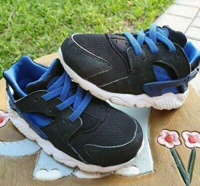 Nike Huarache Black/Blue Toddler 8C
