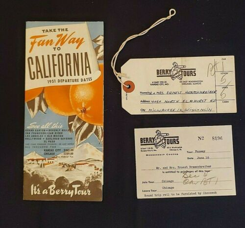 Take The Fun Way to California; Santa Fe & Southern Pacific & Berry Tours, 1951