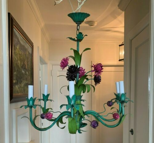 Vintage Tole Painted Metal Flower Floral Chandelier Hanging Purple Pink Green