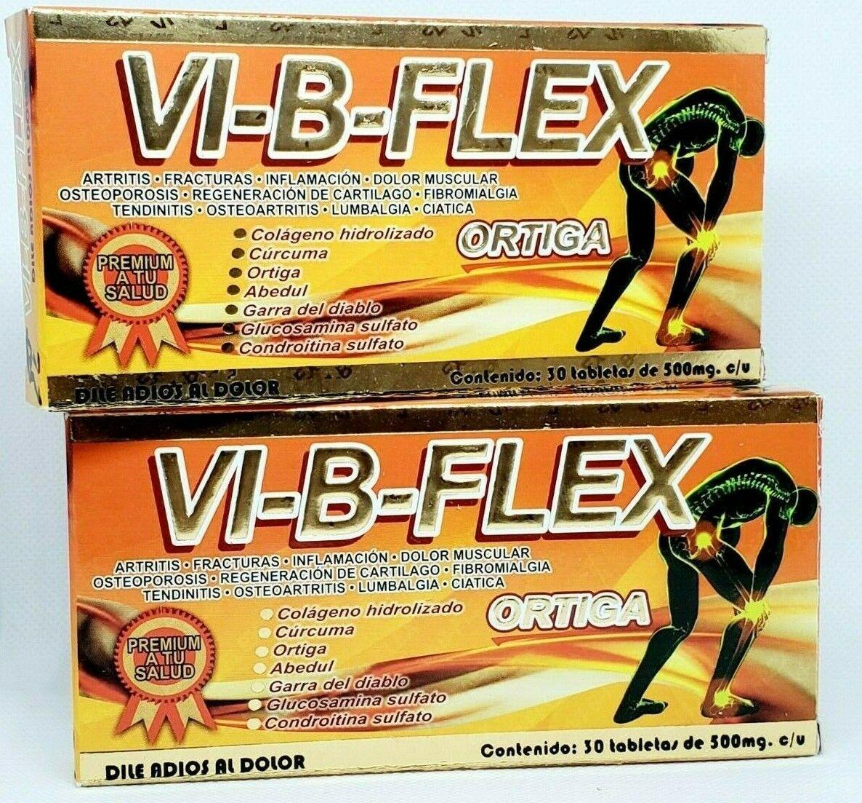 2 Pack Vi-b-flex Ortiga Curcuma Glucosamina Msn Colageno Cartilago Tiburon