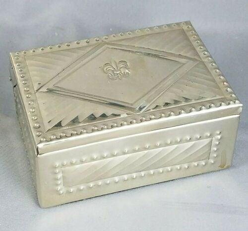 Argentina Alpaca Silver & Wood SOBEK Artisan Hand Made Trinket Box Fleur de Lis