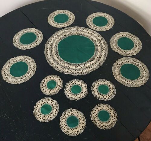 MALTESE LACE & GREEN LINEN DOILIES TABLE MATS - Vintage Set of 13