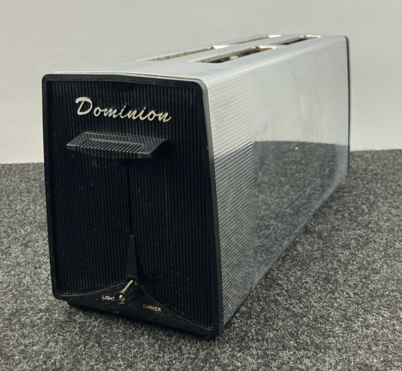 Vintage Retro 4 Slice Dominion Toaster Diner Style Toaster Chrome WORKS GREAT!