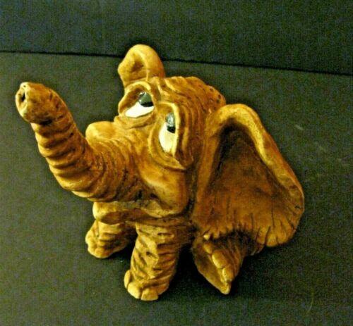 RARE VINTAGE WHIMSICAL WOOD HAND CARVED ELEPHANT SIGNED 1980 VERNON
