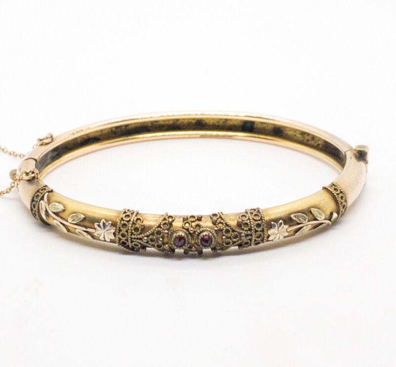 Antique Victorian 14k Yellow Garnet Gold Bangle Bracelet 12.1g
