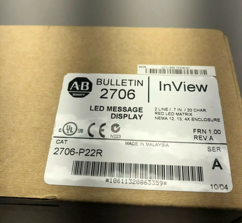 NEW SEALED ALLEN-BRADLEY 2706-P22R INVIEW MESSAGE LED DISPLAY