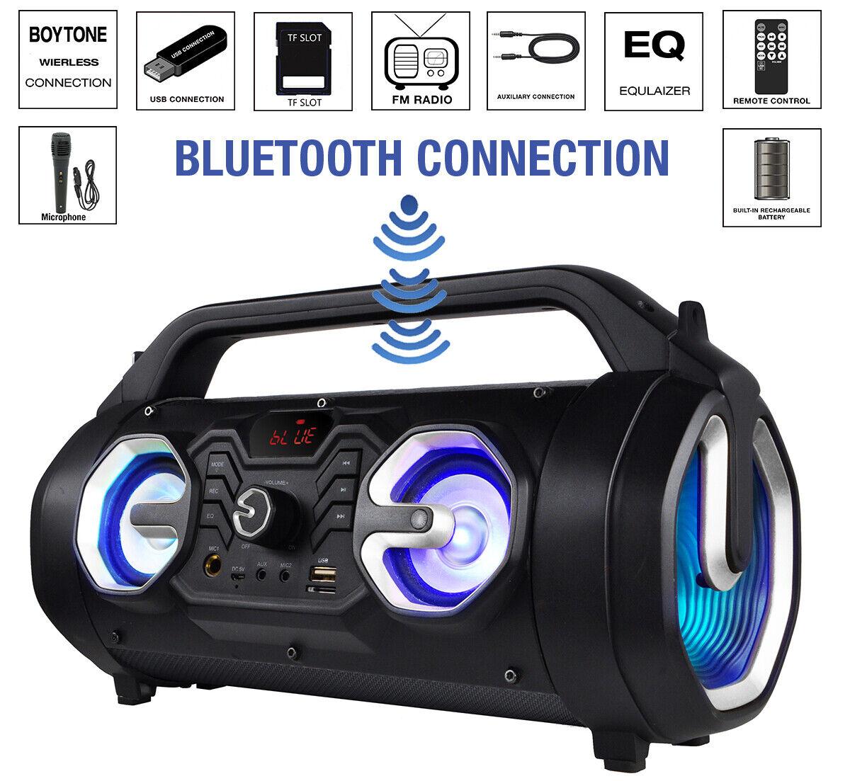 New Boytone BT-16S Portable Bluetooth Boombox Speaker, Indoo