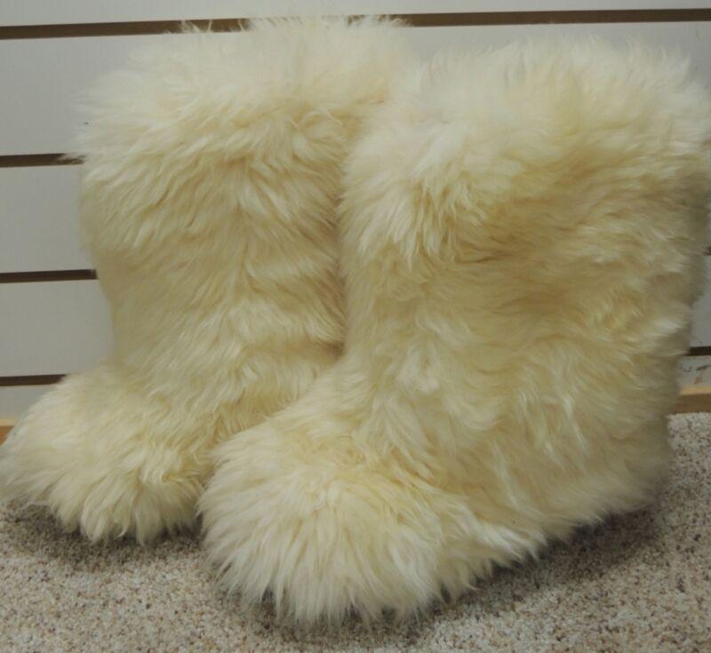 Aifos Vera Pelle Ivory Italian Luxury Goat Fur Fine Leather Boots 40 9 1/2 10