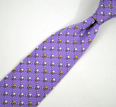 """Bird Dog Bay Mans Tie 100% Silk  60"""" Lavender Skull Cross Bones hand Sewn in USA"""