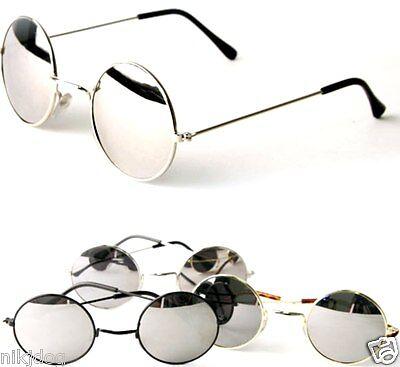 John Lennon Sunglasses Round Hippie Shades Mirror Lens Retro Gold Black Silver   (Hippie Shades)