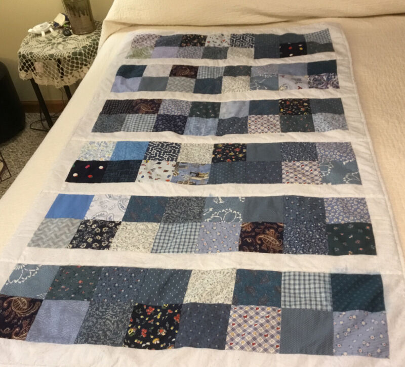 Handmade Patch Work Baby Quilt Couch Blanket Blues Multicolored Patchs