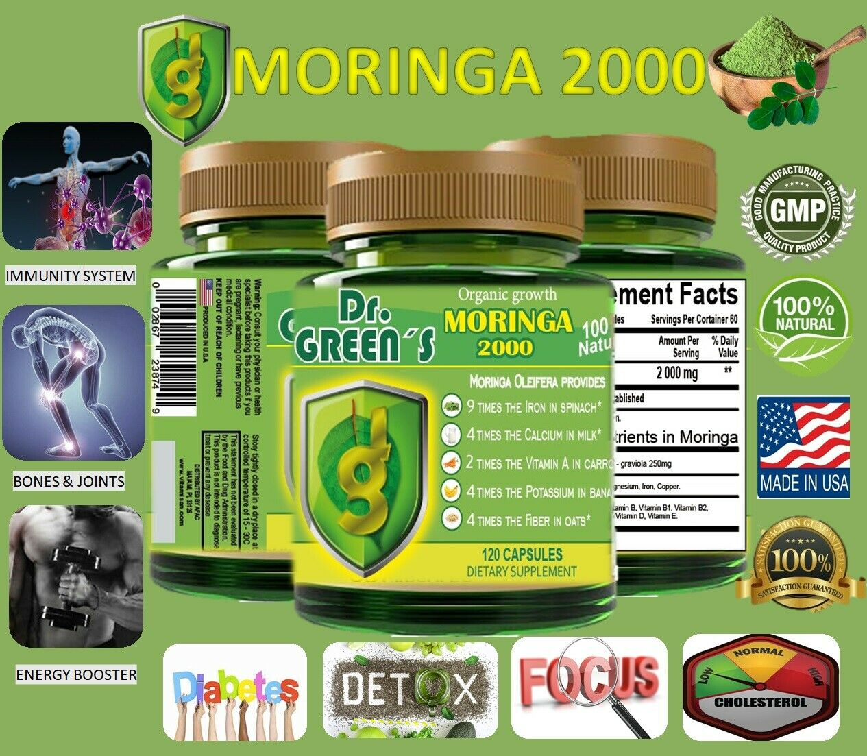 120 capsules MORINGA OLEIFERA LEAF powder 2000 -PHIL-  FREE SHIP pure moringa