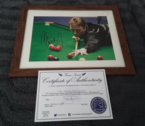 Snooker Memorabilia 1997 World champion KEN DOHERTY Signed and Framed with COA