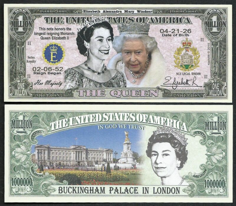 Lot of 25 BILLS - Queen Elizabeth II Commemorative Million Dollar Bill