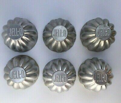 "6X Vintage Aluminum Jello Molds Tins Mini Tarts Jell-O Branded 3"" Forms"