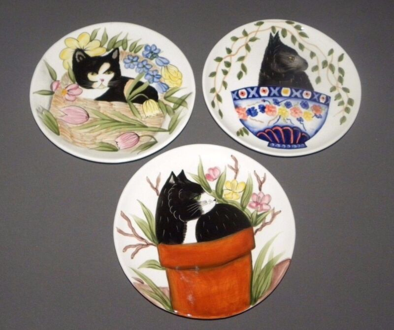 Vintage Decorative Cat Plate Set Porcelain Philippines