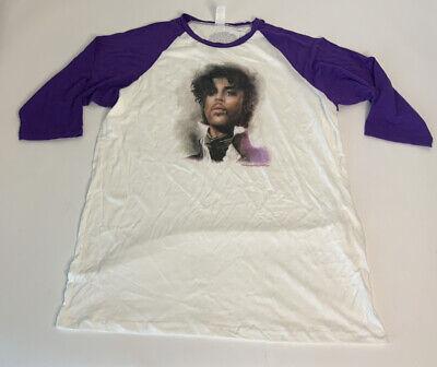 Prince Paisley Park White Purple Raglan Baseball 3/4 Sleeve T-Shirt Men 2XL NWOT