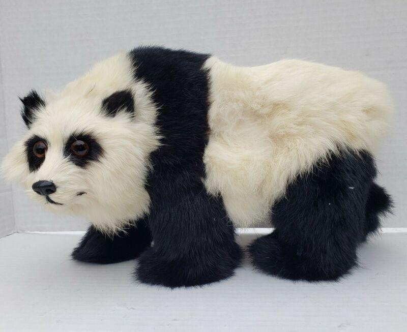 """Vintage Real Rabbit Fur Chinese Panda Bear Figure 12"""" x 7-1/2"""" Free Shipping"""