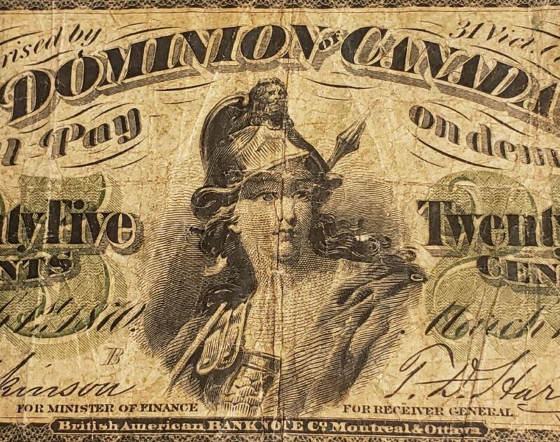 "1870 Dominion of Canada 25 Cents Banknote. RARE Series ""B""."