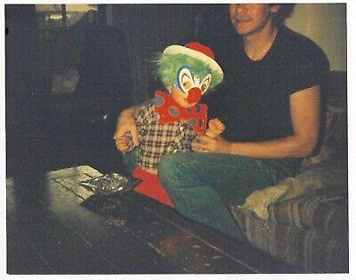 Vintage 80s PHOTO Little Toddler Boy in Halloween Clown Costume w/ Dad - Dad Son Halloween Costumes