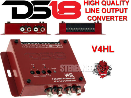 DS18 V4HL 4-Channel Car Line Out Converter High-Level Speaker Signal to Low RCA
