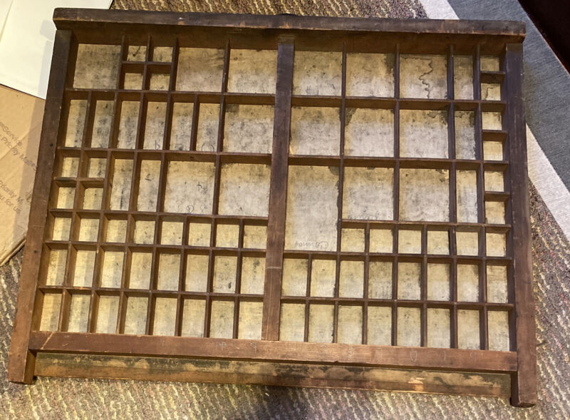 antique PRINTERS TYPE CASE DRAWER 2/3 Typecase Letterpress Wood With Handle