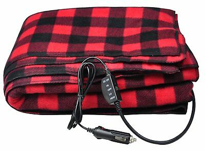 12V Fleece Heated Electric Travel Blanket with Hi / Lo Temperature Switch