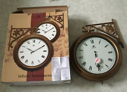 Infinity Instruments 17 Inch Classic Wall Clock 12077 outside bracket 2 sided