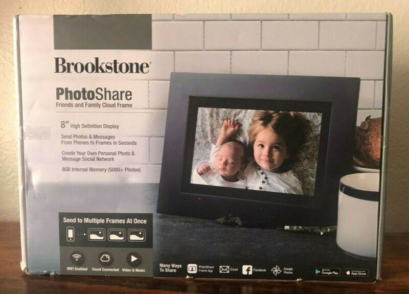 Brookstone FSM08BLB 8 inch PhotoShare Smart Frame - Black