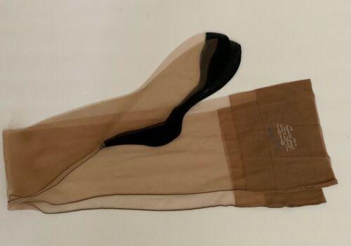 Vintage Fully Fashioned Seamed Black Foot Fancy Heel Stockings NOS Sz 9 1/2