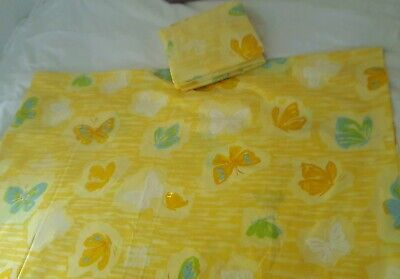 Vintage Pequot Butterfly Yellow Sheet Set Percale Retro 70s DOUBLE / FULL 2 (Retro Sheet Set)